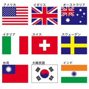 画像1: 卓上旗(正絹) 各国旗